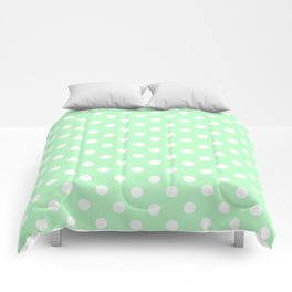 Small Polka Dots - White on Mint Green Comforters