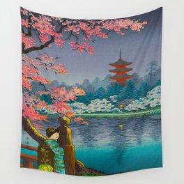 Tsuchiya Koitsu Cherry Blossom Pagoda Woman In Kimono Lake At Twilight Wall Tapestry