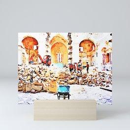 L'Aquila: fireman in the interior of church destroyed Mini Art Print