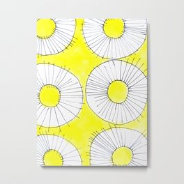 Yellow Sunny Flower Pattern Metal Print