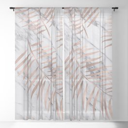 Rose gold palm fronds on marble Sheer Curtain