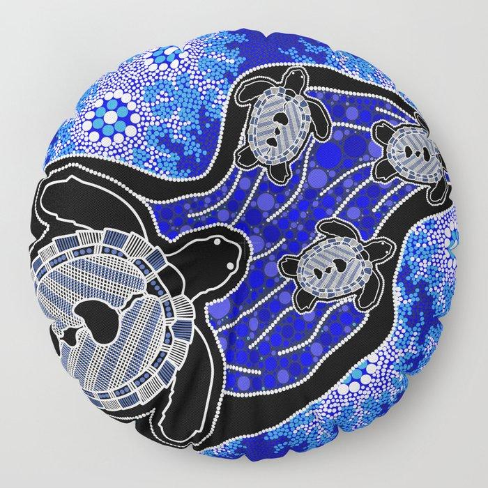 Baby Sea Turtles - Aboriginal Art Floor Pillow