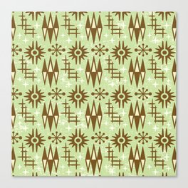 Mid Century Modern Atomic Space Age Pattern Green Brown Canvas Print