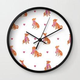 Watercolour dogs - orange theme Wall Clock