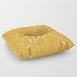 Monstera minimal - yellow Floor Pillow
