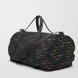 Colorful Hipster Glasses Pattern - Black Duffle Bag