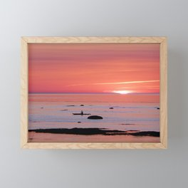 Kayaker and Bird at Last Light Framed Mini Art Print