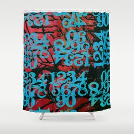 Ski Blue Numbers Shower Curtain