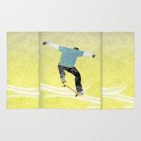 skateboard Area & Throw Rugs featuring Skateboard 3 by Aquamarine Studio