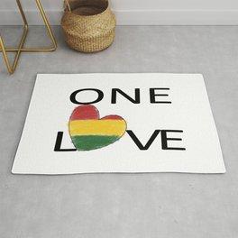 One Love Rasta Rastafari Reggae Heart Rug