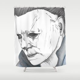 Happy Halloween Michael Myers Portrait Shower Curtain