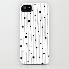 Squares and Vertical Stripes - White and Black - Hanging iPhone Case