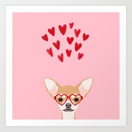 Chihuahua heart glasses cute valentines day must have dog breed gifts Art Print