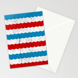 The Sailor - Vintage Nautical Striped Waves RWB Stationery Cards