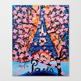 Paris Cherry Blossoms Canvas Print