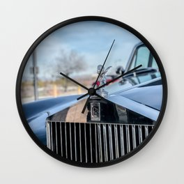 Vintage Car // Rolls Blue Paint Hood Ornament Silver Grille Classic Wall Clock
