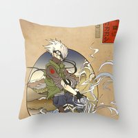 kakashi Throw Pillows featuring Woodblock Kakashi by Sempaiko