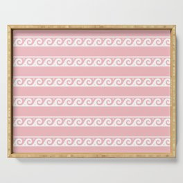 Pink and white Greek wave ornament pattern Serving Tray