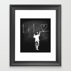 One Plus One Equals Love Framed Art Print