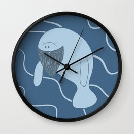 Silly Bearded Manatee Wall Clock