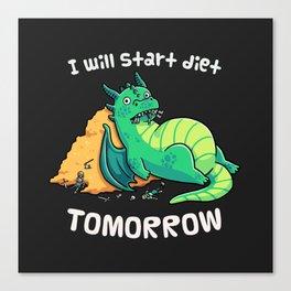 Diet Procrastination Dragon // Fantasy, Chubby, Roleplay Canvas Print