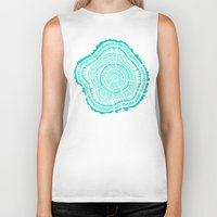 tree rings Biker Tanks featuring Turquoise Tree Rings by Cat Coquillette