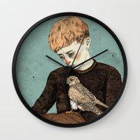 sandra dieckmann Wall Clocks featuring Kes  by Sandra Dieckmann