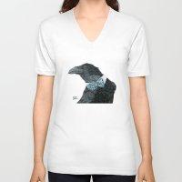 lara croft V-neck T-shirts featuring Raven Croft by Jennifer Lambein