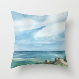 2019 Watercolor Sea Scape Series 002 Watercolor Painting Throw Pillow