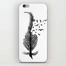 Feather with birds iPhone Skin