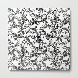 Vintage stylish black white elegant floral damask Metal Print