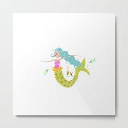 Kids Mermaid//Mermaid Tail//Ocean Sealife Fish Metal Print