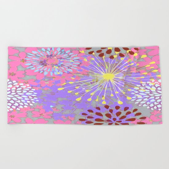 Floral Explosion Abstract Beach Towel