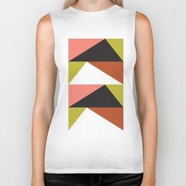 Geometric Pattern 23 (pink lime black triangle) Biker Tank