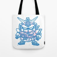 gundam Tote Bags featuring Cheeseburger RX-78 Gundam by Philip Tseng