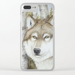 Timber Wolf in Aspen Trees Watercolor Clear iPhone Case