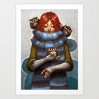Girl with Owls Art Print