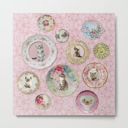 Magical Cat Plates on Pink Lace Wall Metal Print
