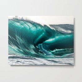 Crystal Clear High Surf - Scarborough Beach, Narragansett, Rhode Island Metal Print