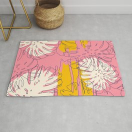 Lovely tropical palm leaves hand drawn and hand-painted on pink illustration background illustration Rug