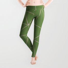 Green Background Triangular Pink Lines Leggings