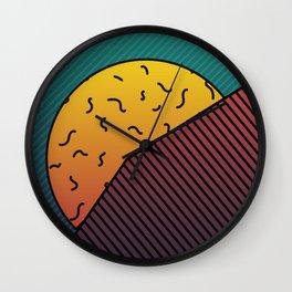 Hidden Sunset behind a mountain Graphic Design Minimal Art Wall Clock
