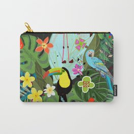 Parrots, Toucan and Flamingo Tropical Birds Tropical Forest Pattern Carry-All Pouch