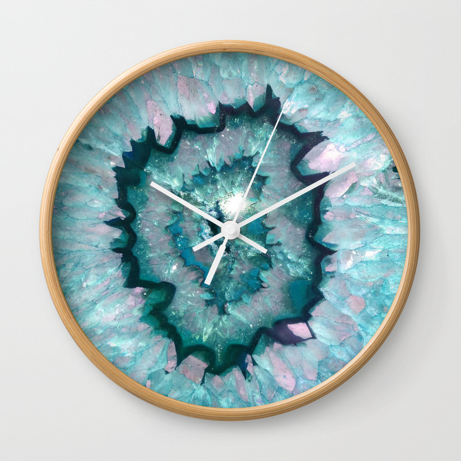 Teal Agate Wall Clock By Thequarry Society6