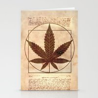 marijuana Stationery Cards featuring vitruvian marijuana by Emekli Astronot