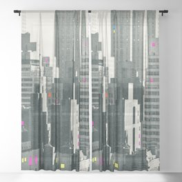 Discos in New York Sheer Curtain