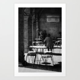 Woman in love waiting for a coffee Art Print
