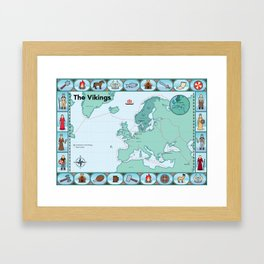Illustrated map of the Vikings Framed Art Print
