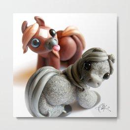 Two Tumble Ponies Metal Print