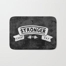 Stronger Every Day (dumbbell, black & white) Bath Mat